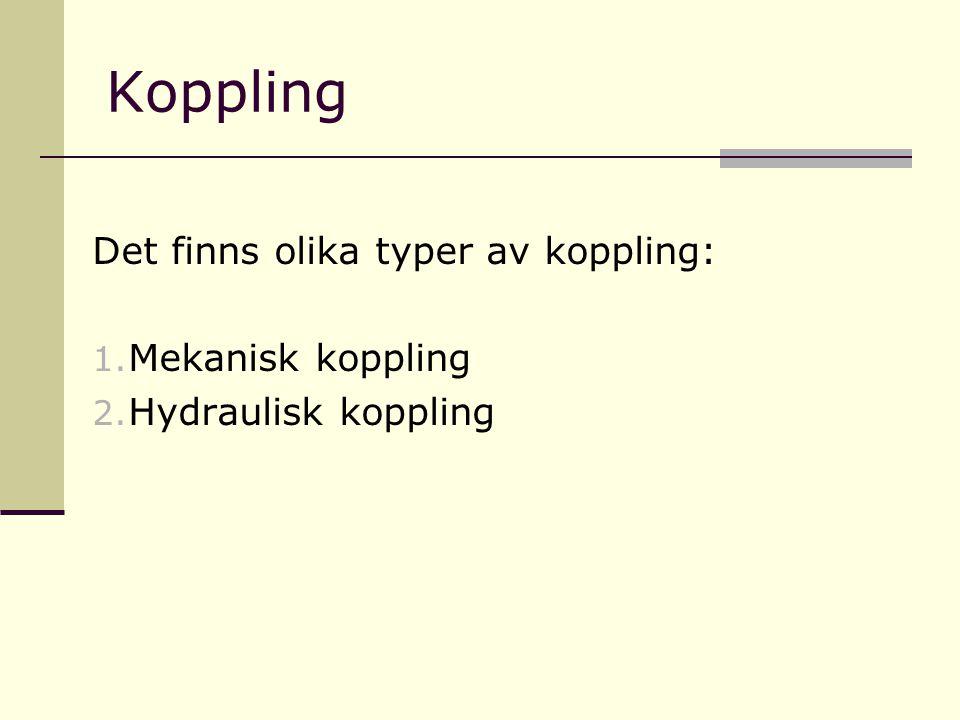 Koppling Det finns olika typer av koppling: 1. Mekanisk koppling 2. Hydraulisk koppling