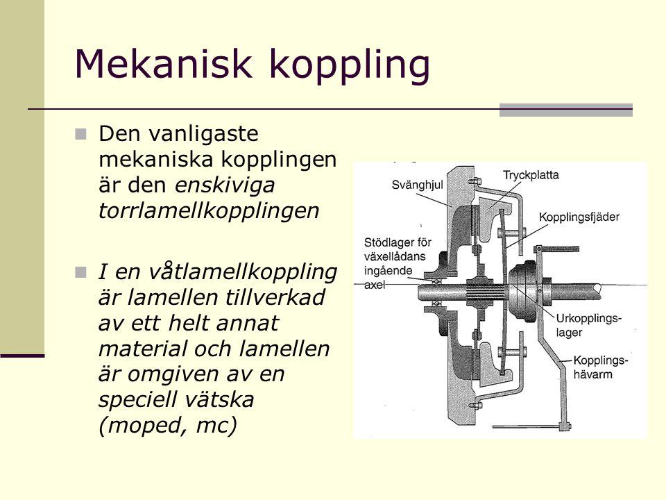 Mekanisk koppling  Den vanligaste mekaniska kopplingen är den enskiviga torrlamellkopplingen  I en våtlamellkoppling är lamellen tillverkad av ett h