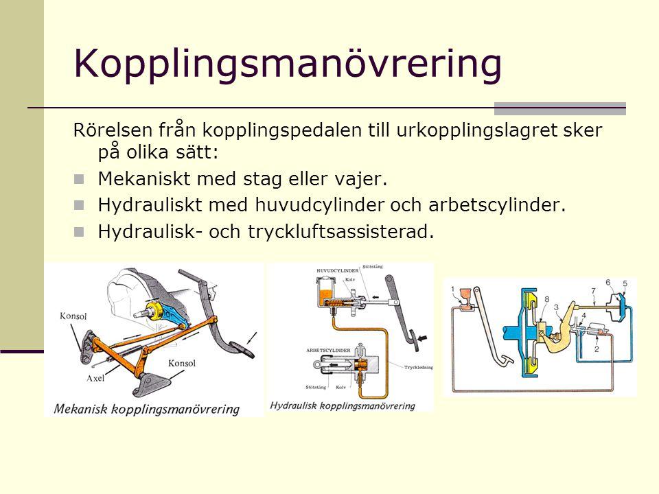 Kopplingsmanövrering Rörelsen från kopplingspedalen till urkopplingslagret sker på olika sätt:  Mekaniskt med stag eller vajer.  Hydrauliskt med huv