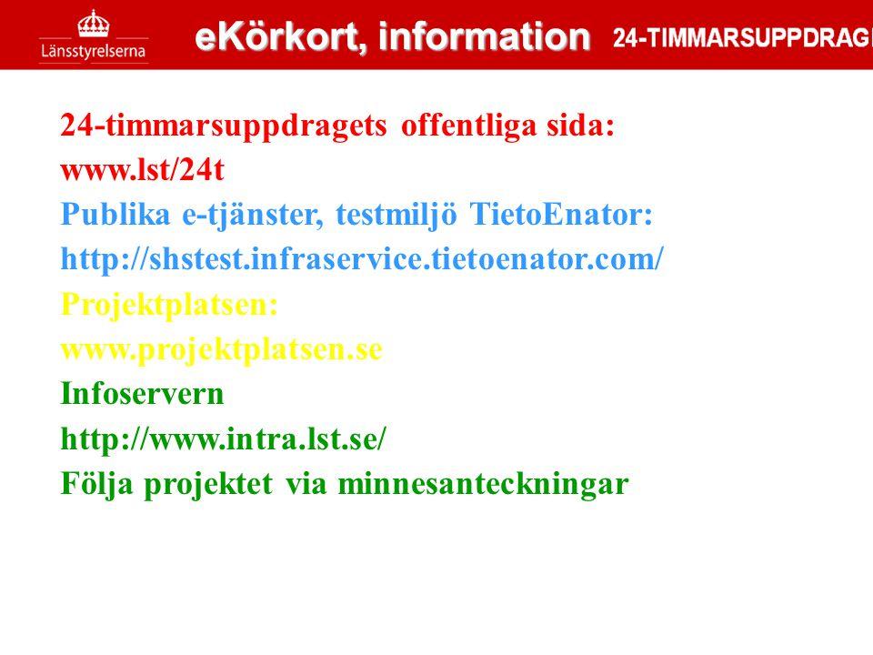 24-timmarsuppdragets offentliga sida: www.lst/24t Publika e-tjänster, testmiljö TietoEnator: http://shstest.infraservice.tietoenator.com/ Projektplats