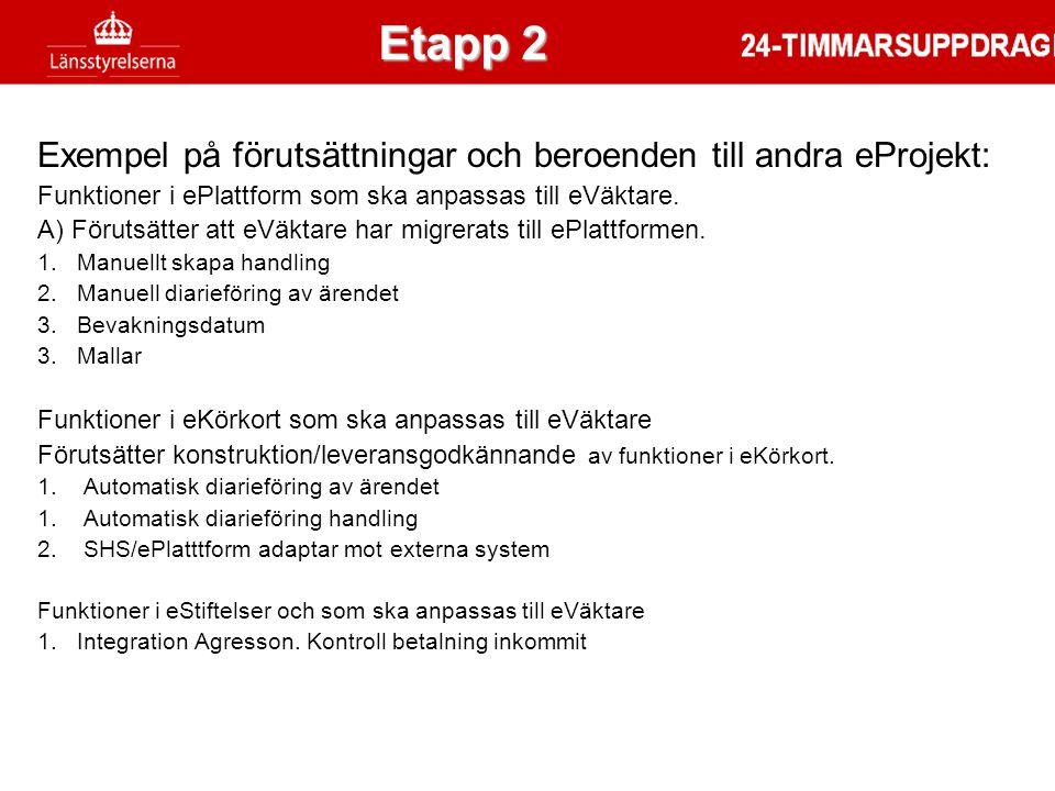 Exempel på förutsättningar och beroenden till andra eProjekt: Funktioner i ePlattform som ska anpassas till eVäktare. A) Förutsätter att eVäktare har