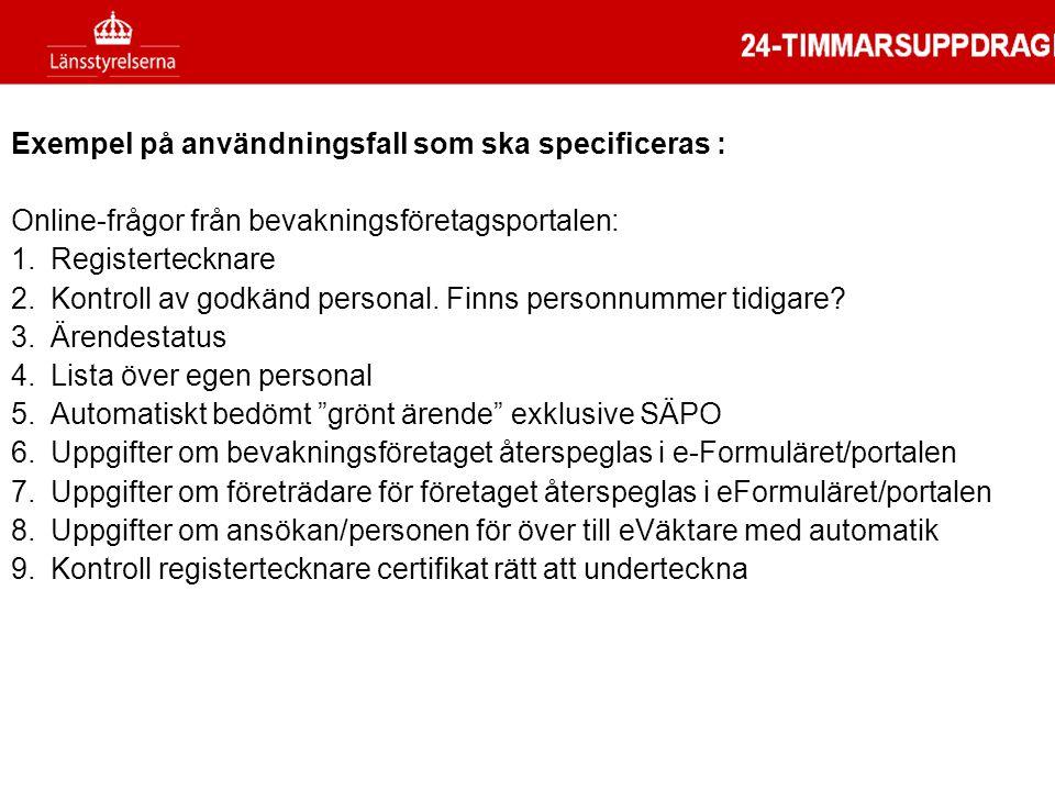 Exempel på användningsfall som ska specificeras : Online-frågor från bevakningsföretagsportalen: 1.Registertecknare 2.Kontroll av godkänd personal. Fi
