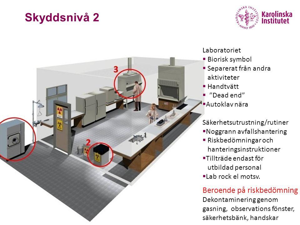 """November 26, 2012 Skyddsnivå 2 Laboratoriet  Biorisk symbol  Separerat från andra aktiviteter  Handtvätt  """"Dead end""""  Autoklav nära Säkerhetsutru"""