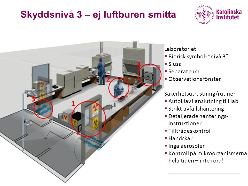 Laboratoriet  Biorisk symbol- nivå 3  Sluss  Separat rum  Observations fönster Säkerhetsutrustning/rutiner  Autoklav i anslutning till lab  Strikt avfallshantering  Detaljerade hanterings- instruktioner  Tillträdeskontroll  Handskar  Inga aerosoler  Kontroll på mikroorganismerna hela tiden – inte röra.