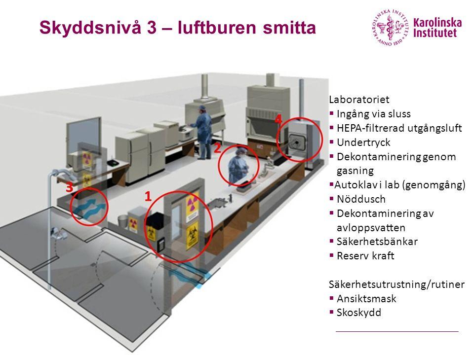Laboratoriet  Ingång via sluss  HEPA-filtrerad utgångsluft  Undertryck  Dekontaminering genom gasning  Autoklav i lab (genomgång)  Nöddusch  Dekontaminering av avloppsvatten  Säkerhetsbänkar  Reserv kraft Säkerhetsutrustning/rutiner  Ansiktsmask  Skoskydd Skyddsnivå 3 – luftburen smitta
