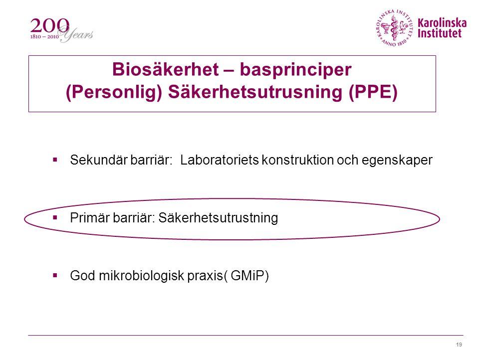 19 Biosäkerhet – basprinciper (Personlig) Säkerhetsutrusning (PPE)  Sekundär barriär: Laboratoriets konstruktion och egenskaper  Primär barriär: Säkerhetsutrustning  God mikrobiologisk praxis( GMiP)