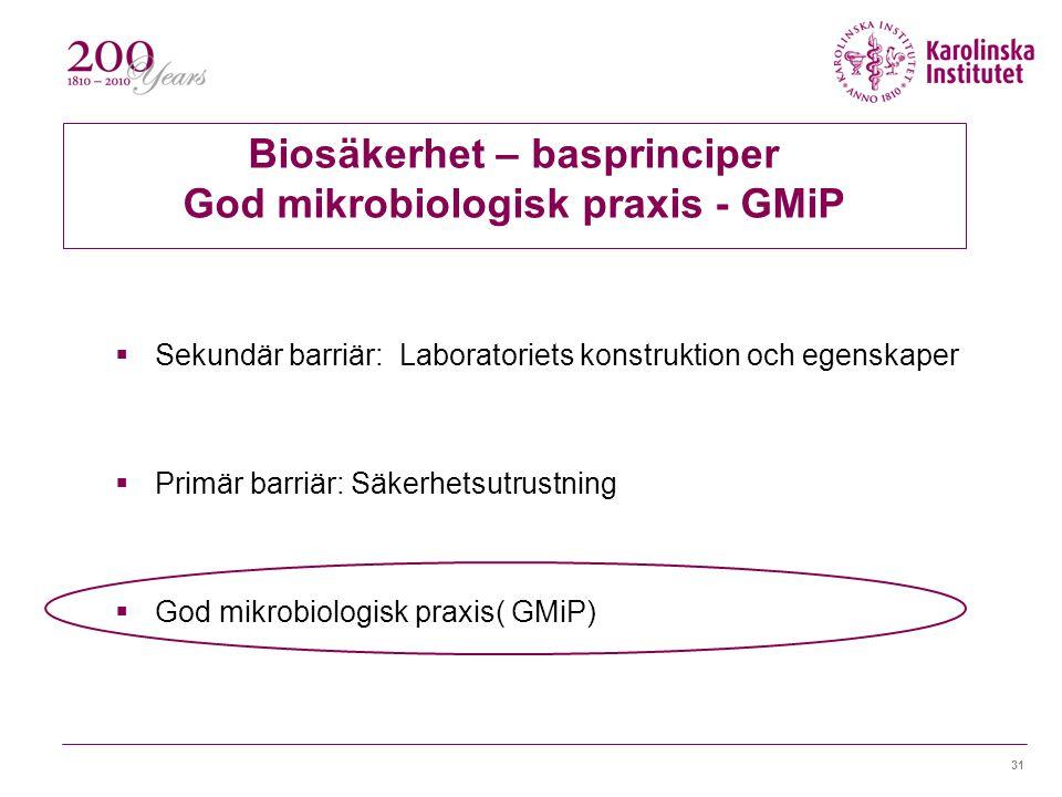 31 Biosäkerhet – basprinciper God mikrobiologisk praxis - GMiP  Sekundär barriär: Laboratoriets konstruktion och egenskaper  Primär barriär: Säkerhetsutrustning  God mikrobiologisk praxis( GMiP)