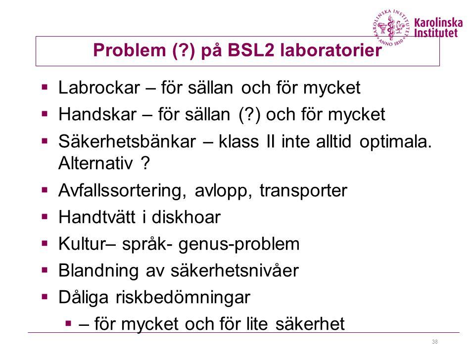 38 Problem (?) på BSL2 laboratorier  Labrockar – för sällan och för mycket  Handskar – för sällan (?) och för mycket  Säkerhetsbänkar – klass II inte alltid optimala.