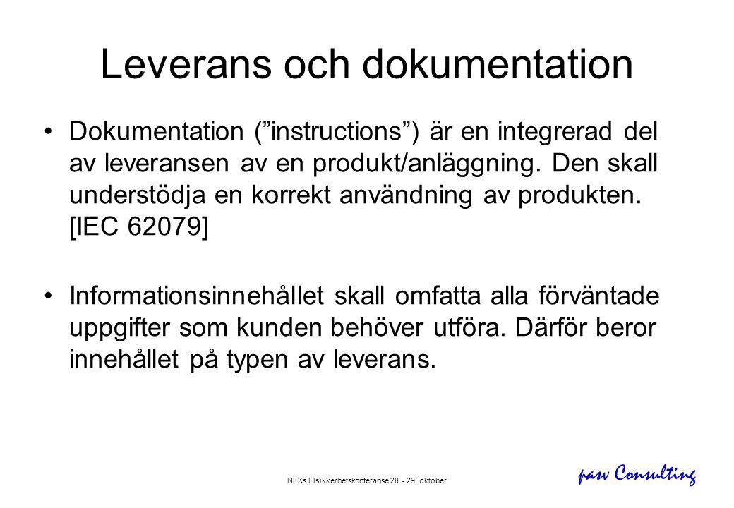 """pasv Consulting NEKs Elsikkerhetskonferanse 28. - 29. oktober Leverans och dokumentation •Dokumentation (""""instructions"""") är en integrerad del av lever"""