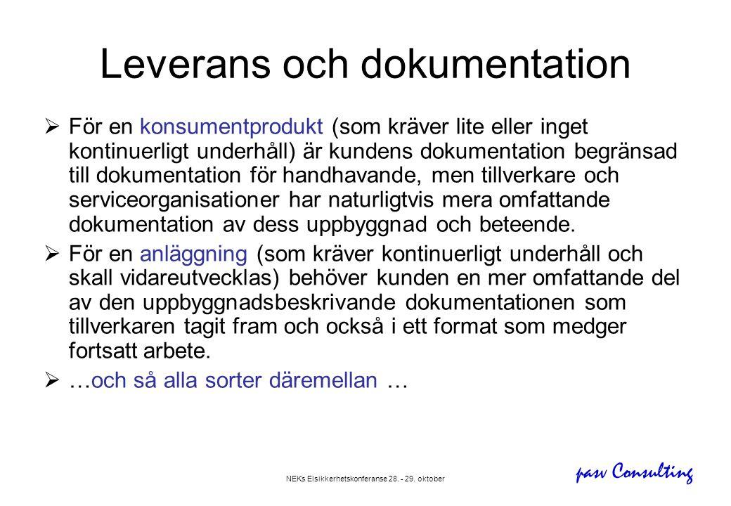 pasv Consulting NEKs Elsikkerhetskonferanse 28. - 29. oktober Leverans och dokumentation  För en konsumentprodukt (som kräver lite eller inget kontin