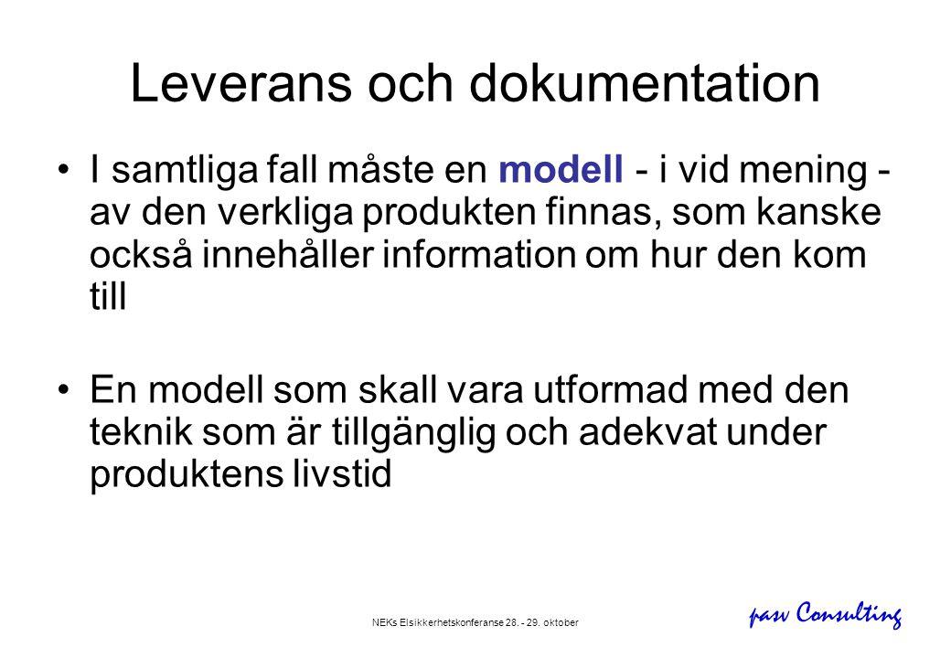 pasv Consulting NEKs Elsikkerhetskonferanse 28. - 29. oktober Leverans och dokumentation •I samtliga fall måste en modell - i vid mening - av den verk