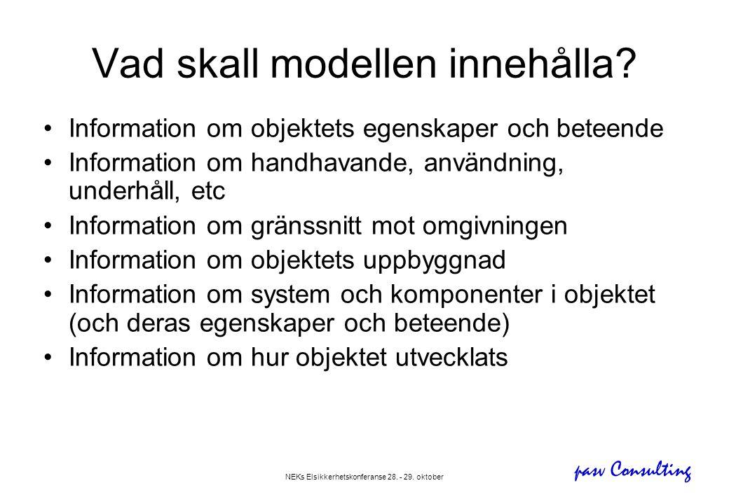 pasv Consulting NEKs Elsikkerhetskonferanse 28. - 29. oktober Vad skall modellen innehålla? •Information om objektets egenskaper och beteende •Informa