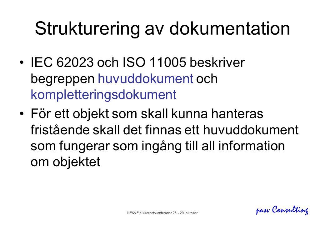 pasv Consulting NEKs Elsikkerhetskonferanse 28. - 29. oktober Strukturering av dokumentation •IEC 62023 och ISO 11005 beskriver begreppen huvuddokumen