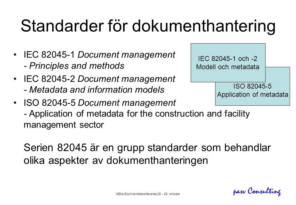 pasv Consulting NEKs Elsikkerhetskonferanse 28. - 29. oktober Standarder för dokumenthantering •IEC 82045-1 Document management - Principles and metho