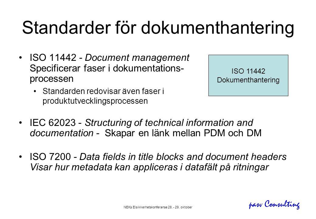 pasv Consulting NEKs Elsikkerhetskonferanse 28. - 29. oktober Standarder för dokumenthantering •ISO 11442 - Document management Specificerar faser i d