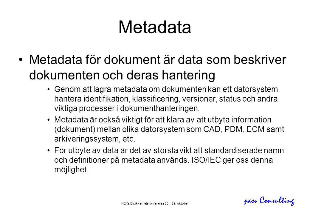 pasv Consulting NEKs Elsikkerhetskonferanse 28. - 29. oktober Metadata •Metadata för dokument är data som beskriver dokumenten och deras hantering •Ge