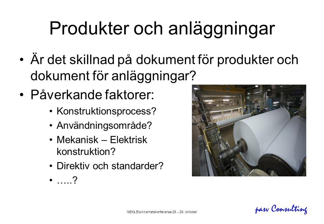 pasv Consulting NEKs Elsikkerhetskonferanse 28. - 29. oktober Produkter och anläggningar •Är det skillnad på dokument för produkter och dokument för a