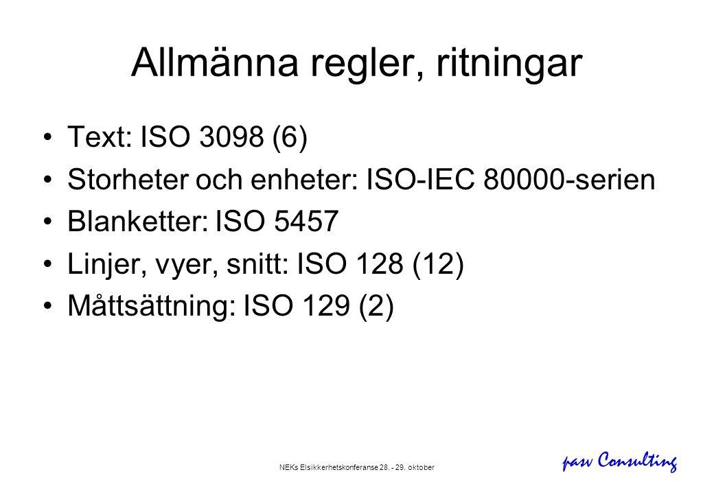 pasv Consulting NEKs Elsikkerhetskonferanse 28. - 29. oktober Allmänna regler, ritningar •Text: ISO 3098 (6) •Storheter och enheter: ISO-IEC 80000-ser