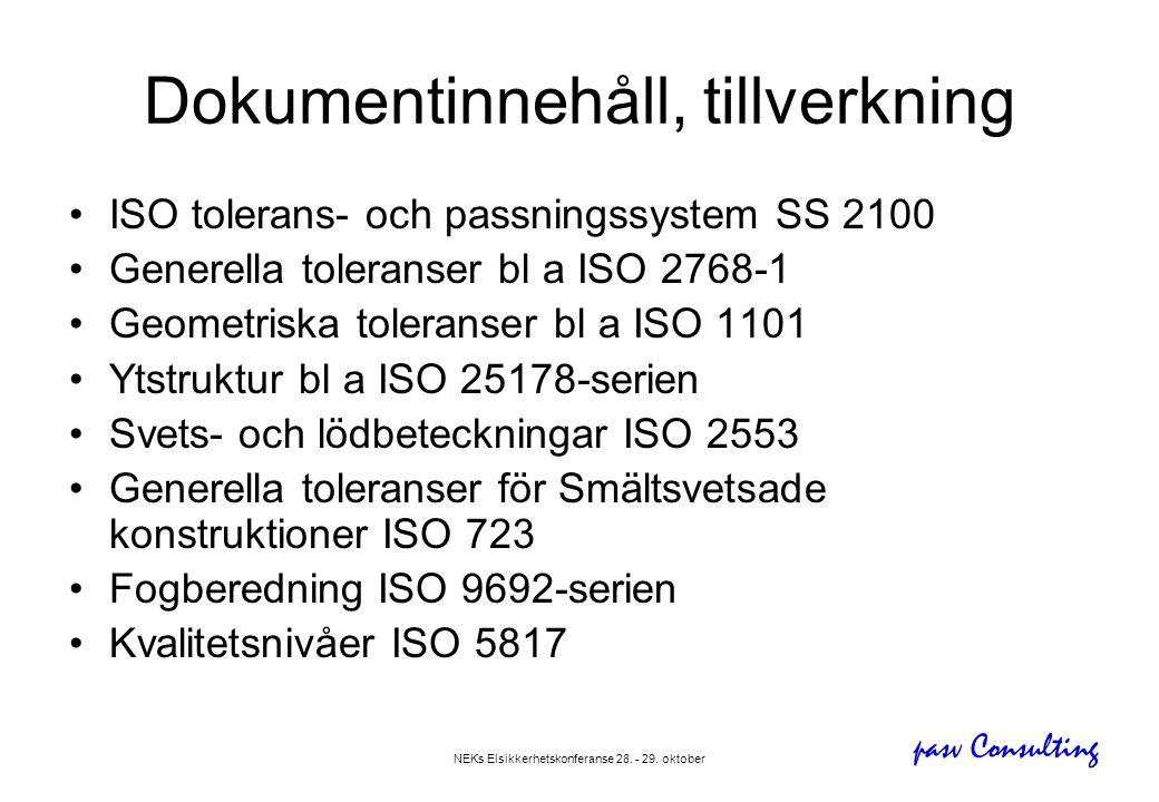 pasv Consulting NEKs Elsikkerhetskonferanse 28. - 29. oktober Dokumentinnehåll, tillverkning •ISO tolerans- och passningssystem SS 2100 •Generella tol