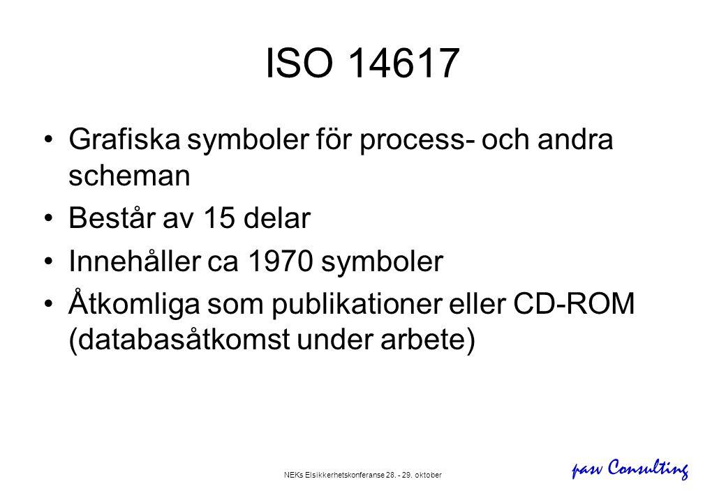 pasv Consulting NEKs Elsikkerhetskonferanse 28. - 29. oktober ISO 14617 •Grafiska symboler för process- och andra scheman •Består av 15 delar •Innehål