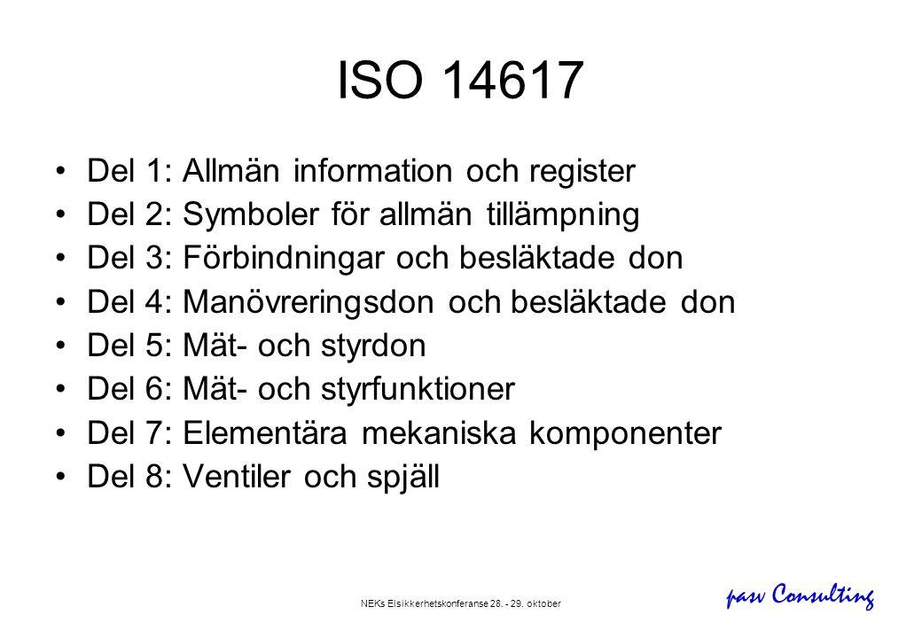 pasv Consulting NEKs Elsikkerhetskonferanse 28. - 29. oktober ISO 14617 •Del 1: Allmän information och register •Del 2: Symboler för allmän tillämpnin