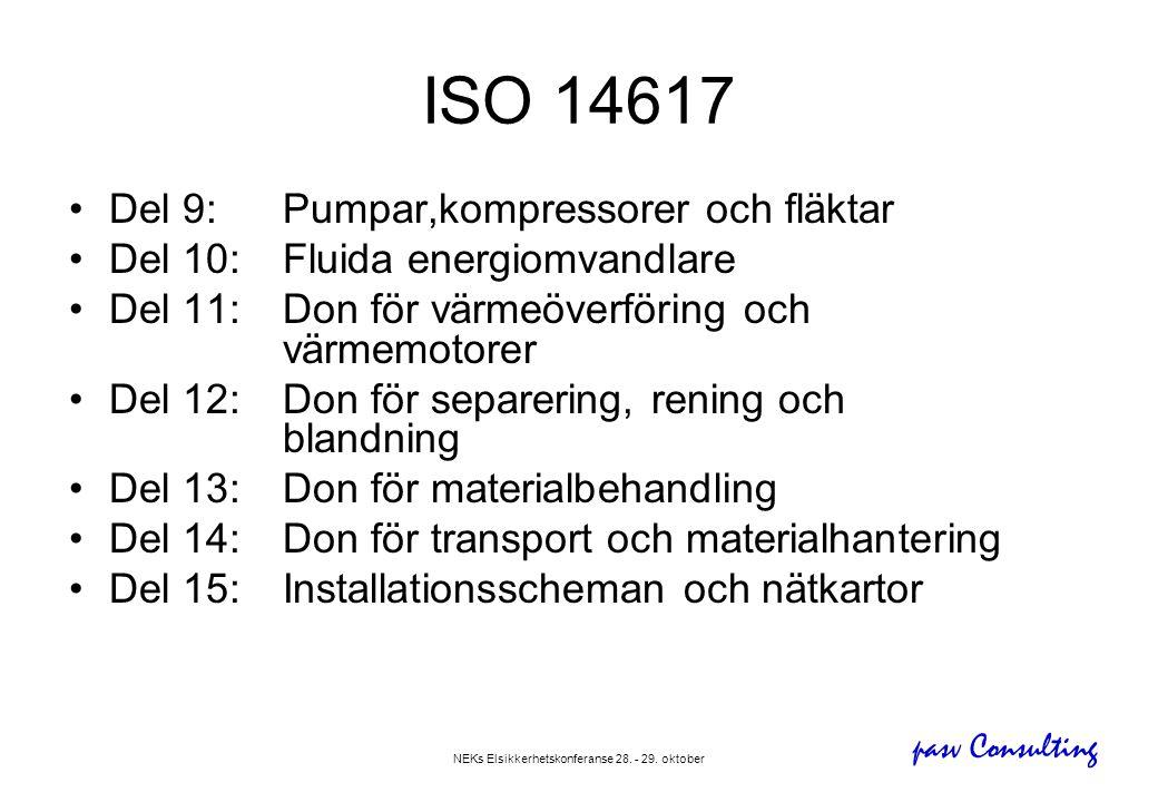 pasv Consulting NEKs Elsikkerhetskonferanse 28. - 29. oktober •Del 9: Pumpar,kompressorer och fläktar •Del 10:Fluida energiomvandlare •Del 11:Don för