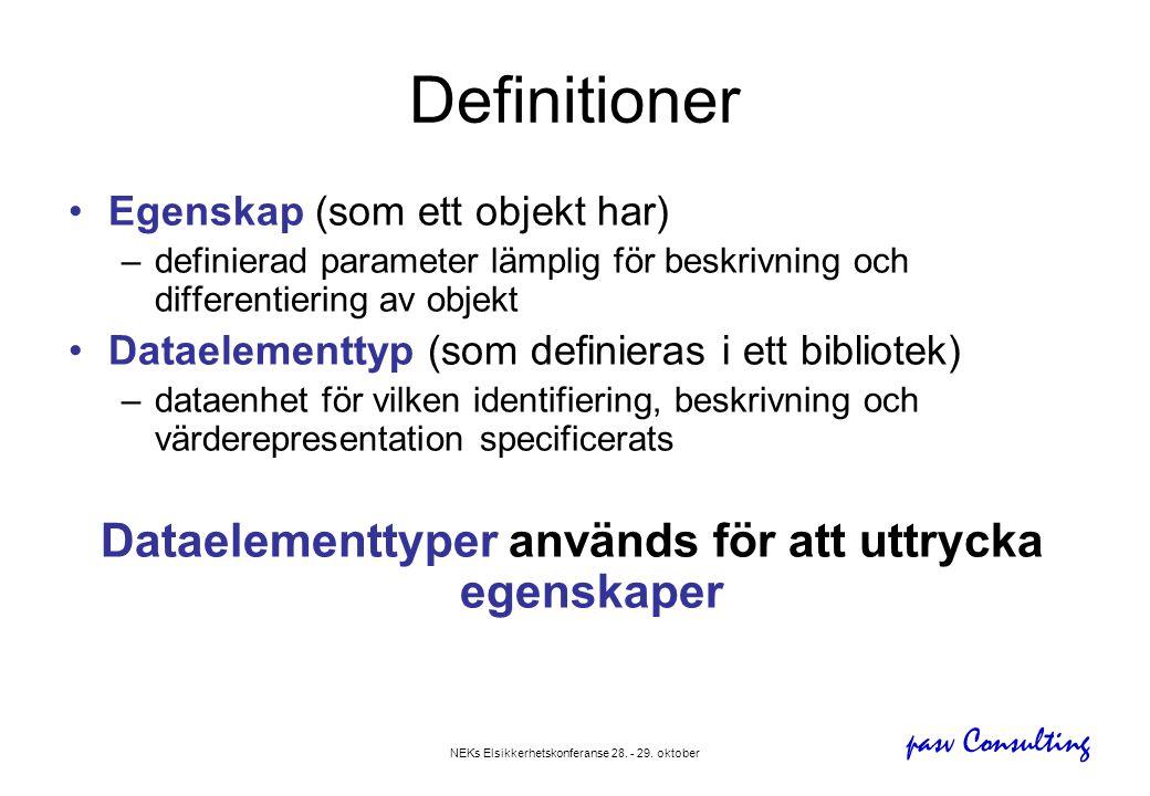 pasv Consulting NEKs Elsikkerhetskonferanse 28. - 29. oktober Definitioner •Egenskap (som ett objekt har) –definierad parameter lämplig för beskrivnin