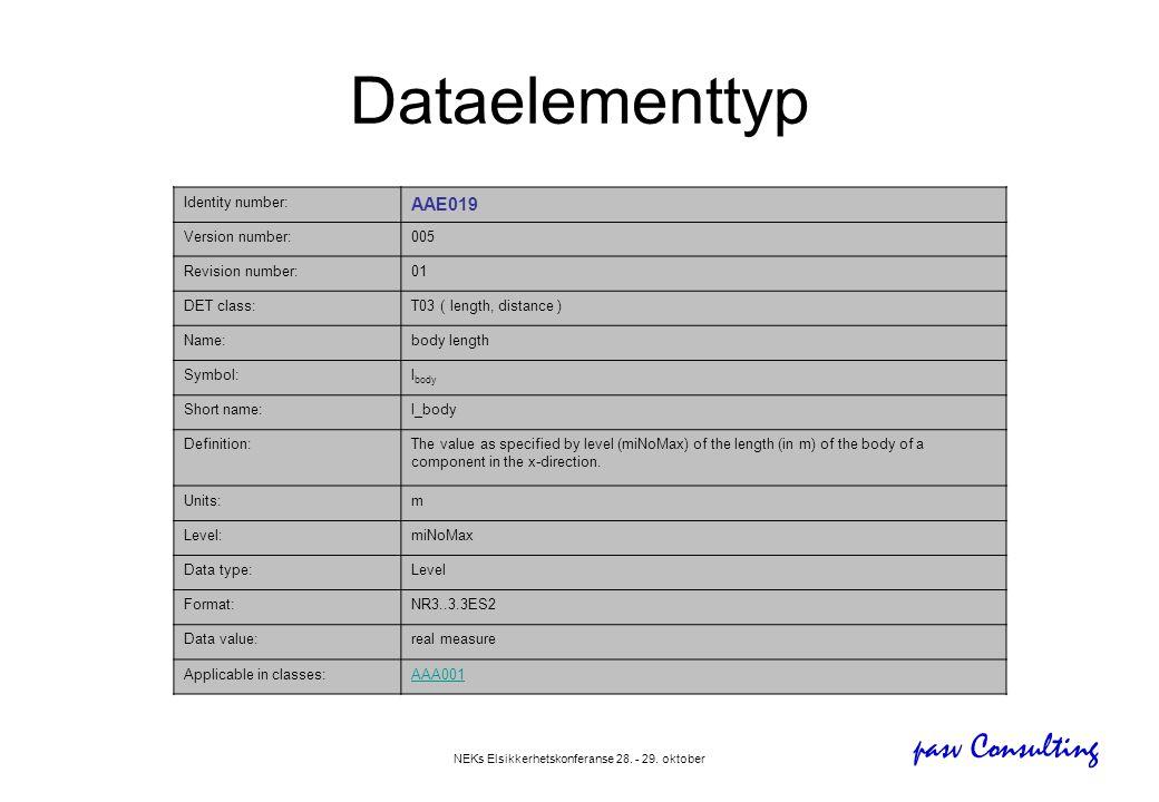 pasv Consulting NEKs Elsikkerhetskonferanse 28. - 29. oktober Dataelementtyp Identity number: AAE019 Version number:005 Revision number:01 DET class:T