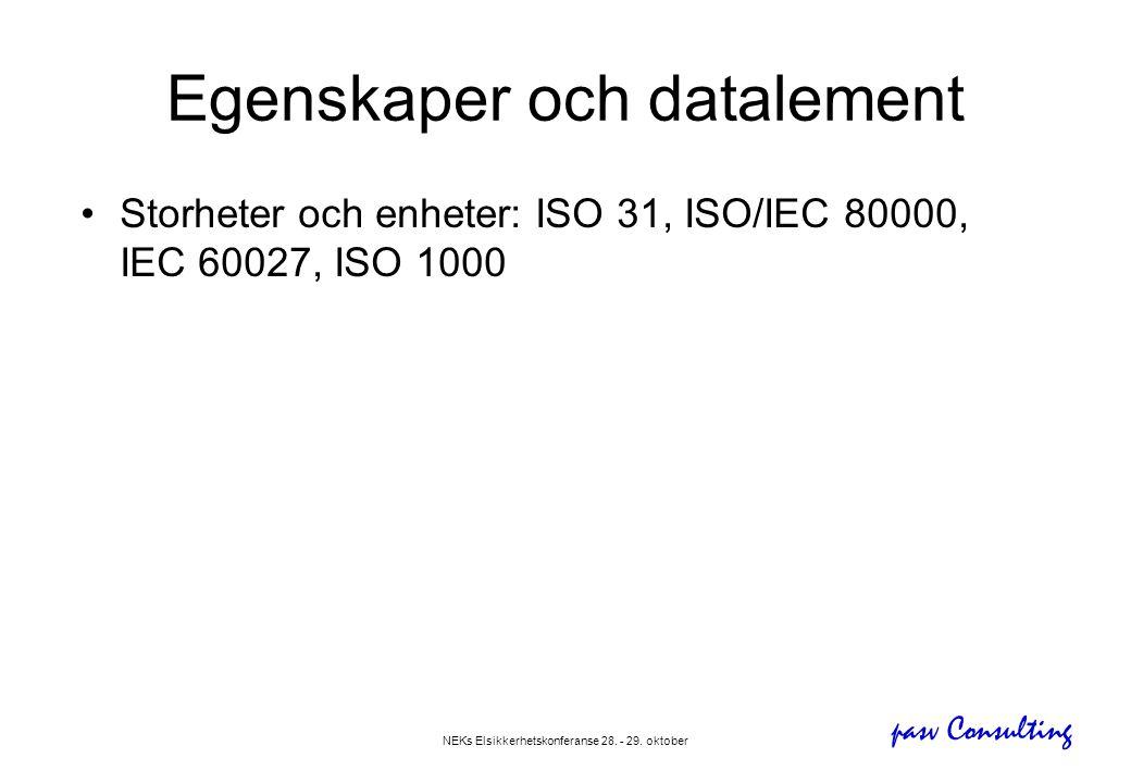 pasv Consulting NEKs Elsikkerhetskonferanse 28. - 29. oktober Egenskaper och datalement •Storheter och enheter: ISO 31, ISO/IEC 80000, IEC 60027, ISO