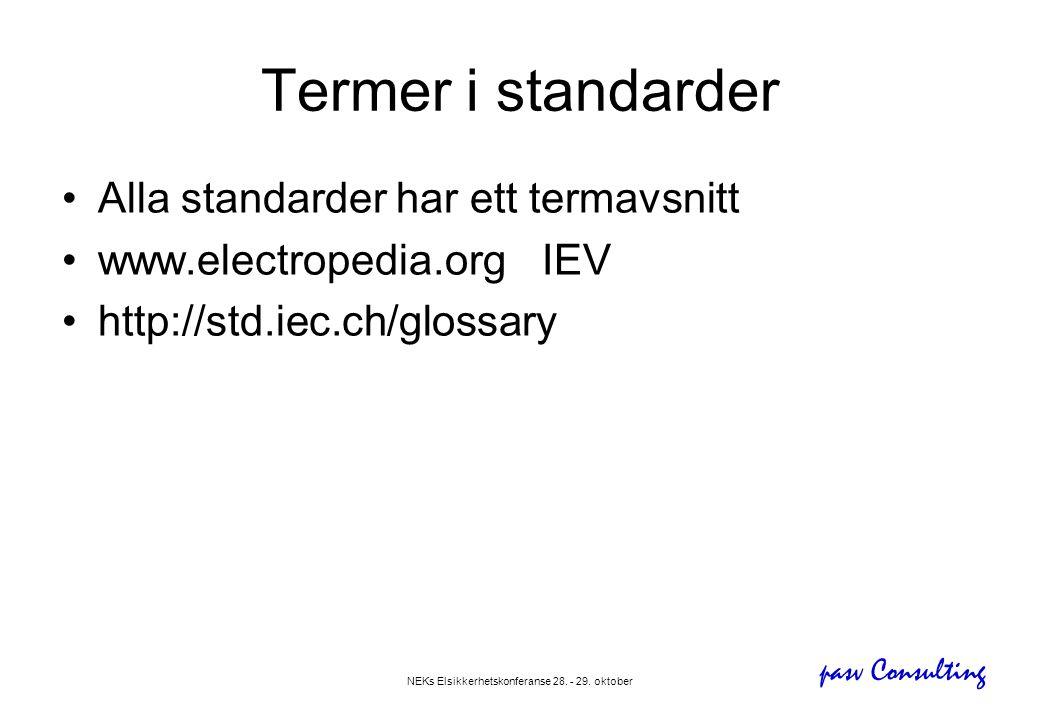 pasv Consulting NEKs Elsikkerhetskonferanse 28. - 29. oktober Termer i standarder •Alla standarder har ett termavsnitt •www.electropedia.orgIEV •http:
