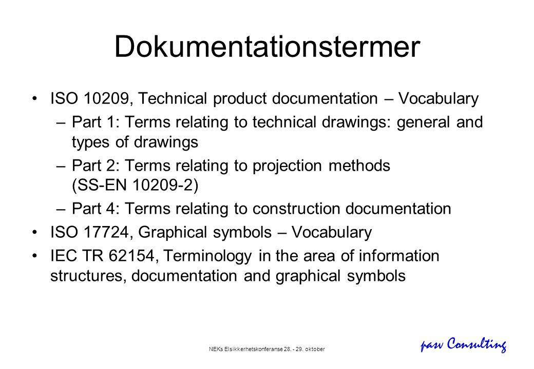 pasv Consulting NEKs Elsikkerhetskonferanse 28. - 29. oktober Dokumentationstermer •ISO 10209, Technical product documentation – Vocabulary –Part 1: T