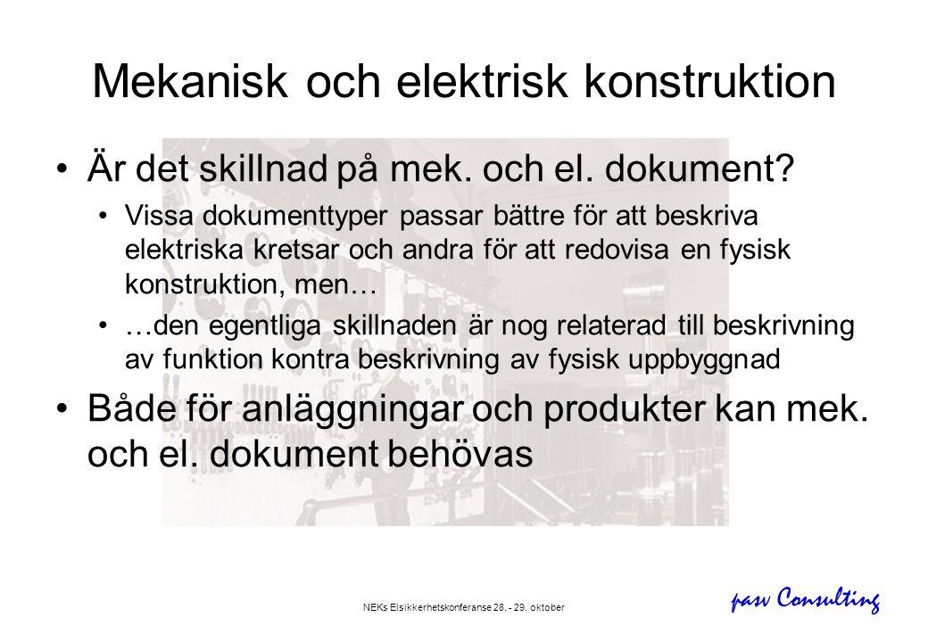 pasv Consulting NEKs Elsikkerhetskonferanse 28. - 29. oktober Mekanisk och elektrisk konstruktion •Är det skillnad på mek. och el. dokument? •Vissa do