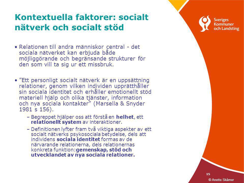 15 Kontextuella faktorer: socialt nätverk och socialt stöd •Relationen till andra människor central - det sociala nätverket kan erbjuda både möjliggör