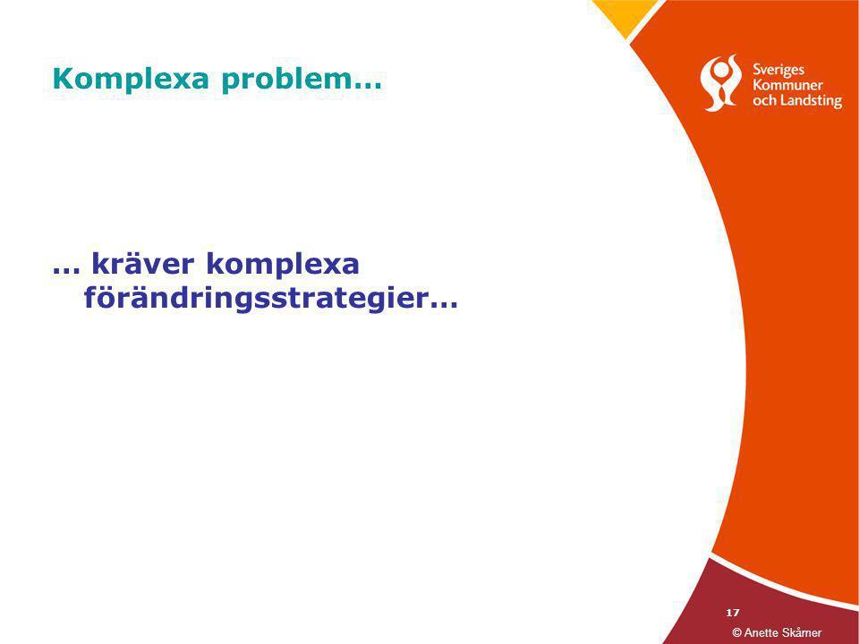 17 Komplexa problem… … kräver komplexa förändringsstrategier… © Anette Skårner