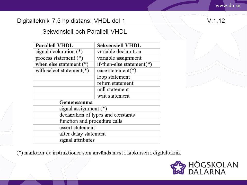 Digitalteknik 7.5 hp distans: VHDL del 1 V:1.12 Sekvensiell och Parallell VHDL