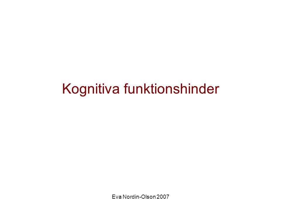 Eva Nordin-Olson 2007 Retts syndrom •1:10000, Flickor •X-kromosomen, nymutationer •Utvecklas till synes normalt till 1,5 års ålder •Fyra stadier Stadium I Stagnationsfas 5-18 mån Stadium IIRegressionsfas 1-4 år Förlorar handmotorik, handstereotypier, tandknarr, slutar jollra och leka, svårkontaktade, intellektuella utvecklingen stannar av Stadium IIIStationär fasflera år/årtionden Minskade stereotypier, mer intresserade av omgivningen Stadium IVMotorisk försämringsfas Autonoma nervsystemet dysfunktionell, mag-tarm problem,tilltagande rörelsehinder, ökad skolios, epilepsi hos 75%