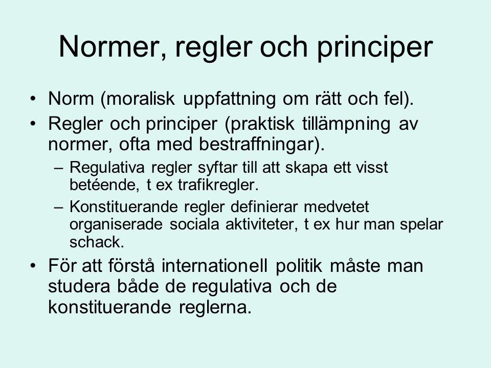 Normer, regler och principer •Norm (moralisk uppfattning om rätt och fel). •Regler och principer (praktisk tillämpning av normer, ofta med bestraffnin