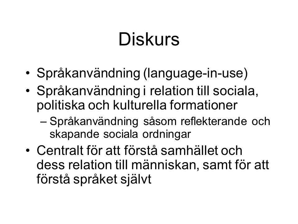 Diskurs •Språkanvändning (language-in-use) •Språkanvändning i relation till sociala, politiska och kulturella formationer –Språkanvändning såsom refle