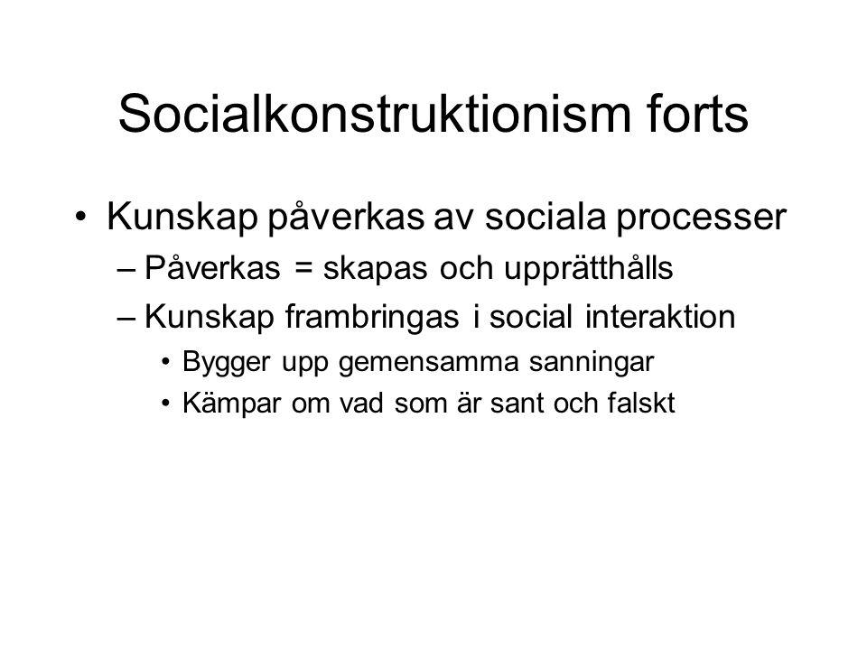 Socialkonstruktionism forts •Kunskap påverkas av sociala processer –Påverkas = skapas och upprätthålls –Kunskap frambringas i social interaktion •Bygg