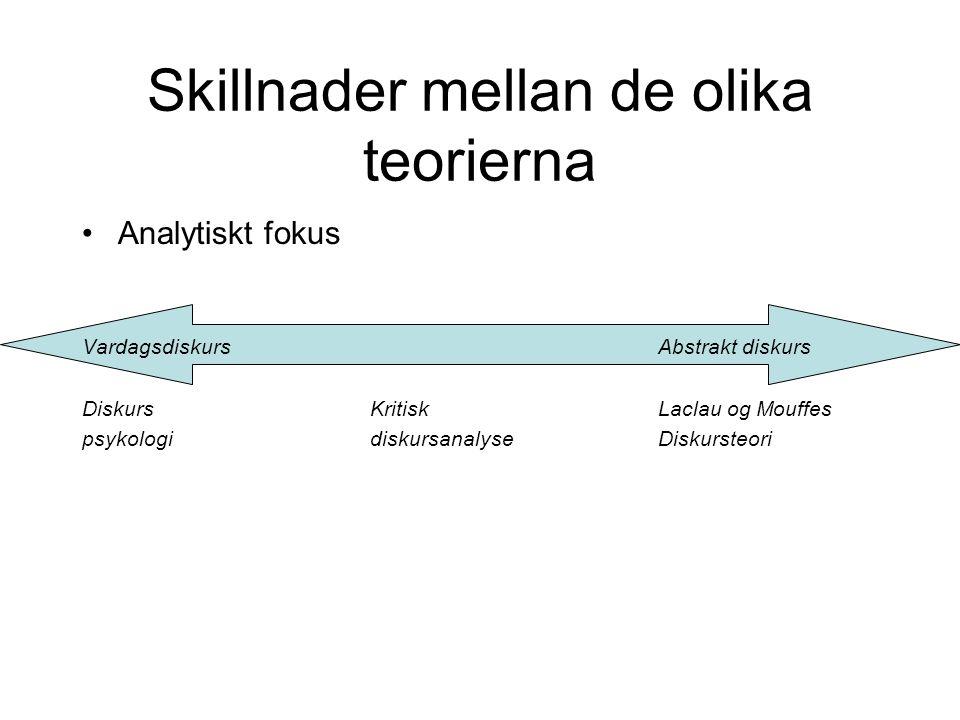 Skillnader mellan de olika teorierna •Analytiskt fokus VardagsdiskursAbstrakt diskurs Diskurs Kritisk Laclau og Mouffes psykologi diskursanalyse Disku