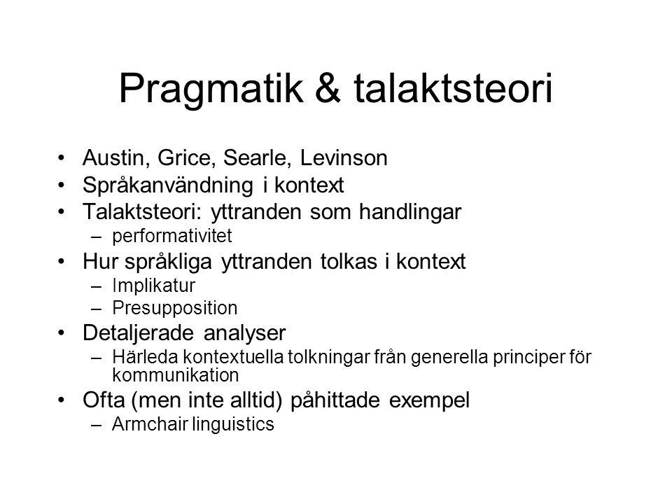 Pragmatik & talaktsteori •Austin, Grice, Searle, Levinson •Språkanvändning i kontext •Talaktsteori: yttranden som handlingar –performativitet •Hur spr