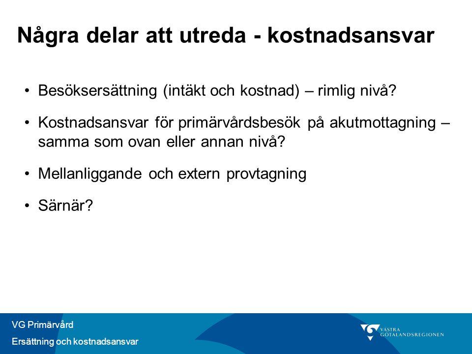VG Primärvård Ersättning och kostnadsansvar Några delar att utreda - kostnadsansvar •Besöksersättning (intäkt och kostnad) – rimlig nivå.