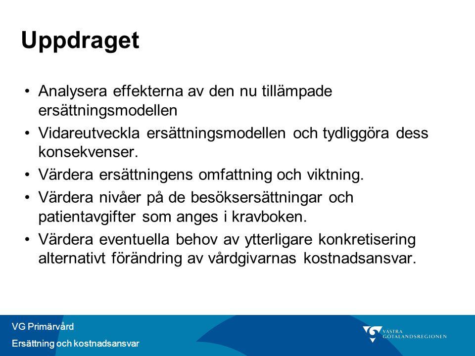 VG Primärvård Ersättning och kostnadsansvar Uppdraget •Analysera effekterna av den nu tillämpade ersättningsmodellen •Vidareutveckla ersättningsmodellen och tydliggöra dess konsekvenser.