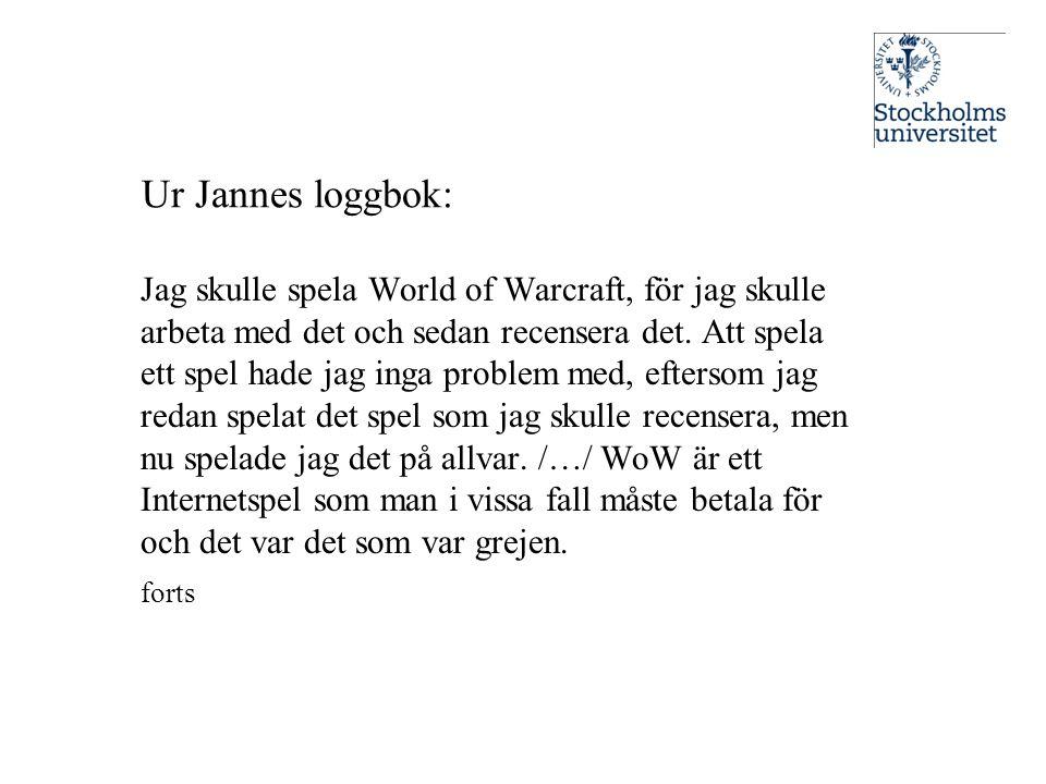 Ur Jannes loggbok: Jag skulle spela World of Warcraft, för jag skulle arbeta med det och sedan recensera det. Att spela ett spel hade jag inga problem