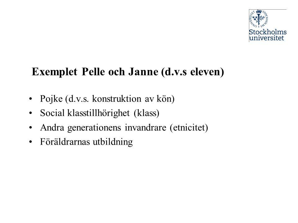 Exemplet Pelle och Janne (d.v.s eleven) •Pojke (d.v.s. konstruktion av kön) •Social klasstillhörighet (klass) •Andra generationens invandrare (etnicit