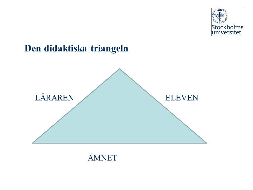 Den didaktiska triangeln LÄRAREN ELEVEN ÄMNET 1ff1F!!F!F1ff1F!!F!F