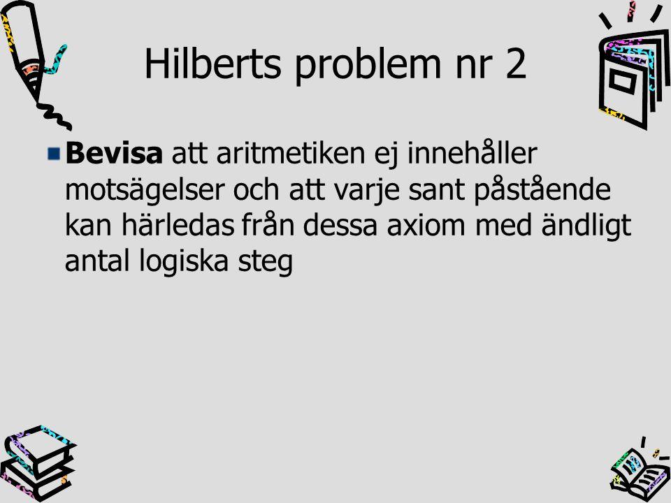 Hilberts problem nr 2 Bevis Kurt Gödel 1931 Ofullständighetsteoremet i varje teori som är kraftfull nog att innefatta aritmetiken, finns sanna utsagor som ej går att bevisa Denna utsaga går ej att bevisa