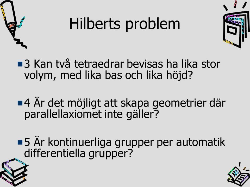 Hilberts problem 3 Kan två tetraedrar bevisas ha lika stor volym, med lika bas och lika höjd? 4 Är det möjligt att skapa geometrier där parallellaxiom