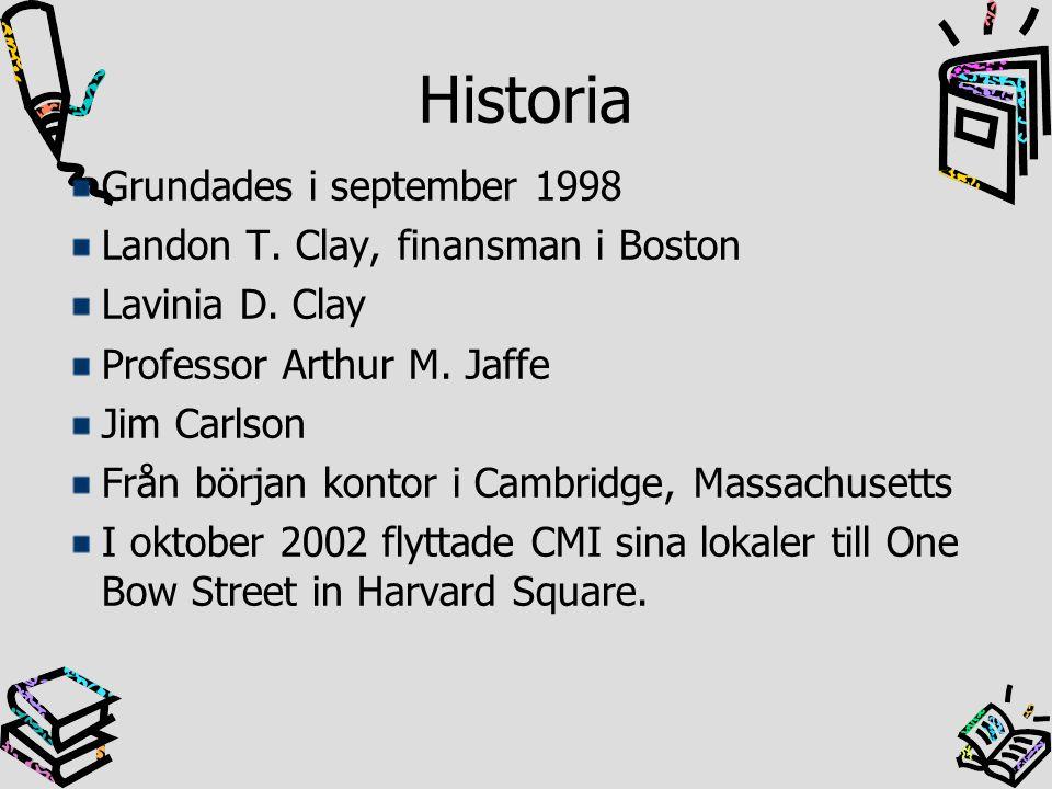 Historia Grundades i september 1998 Landon T. Clay, finansman i Boston Lavinia D. Clay Professor Arthur M. Jaffe Jim Carlson Från början kontor i Camb