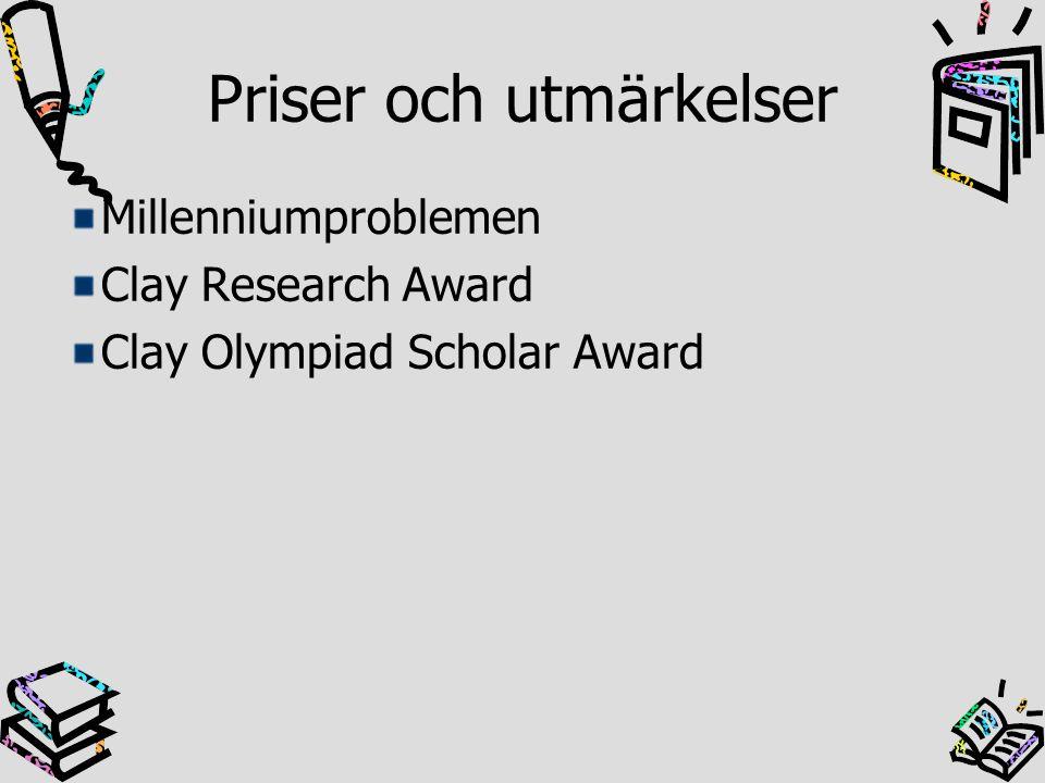 Priser och utmärkelser Millenniumproblemen Clay Research Award Clay Olympiad Scholar Award